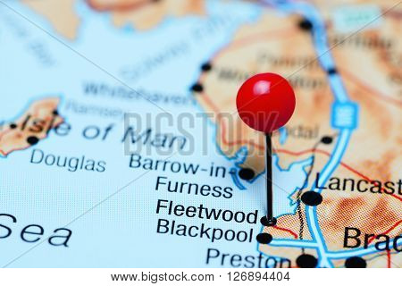 Fleetwood pinned on a map of UK