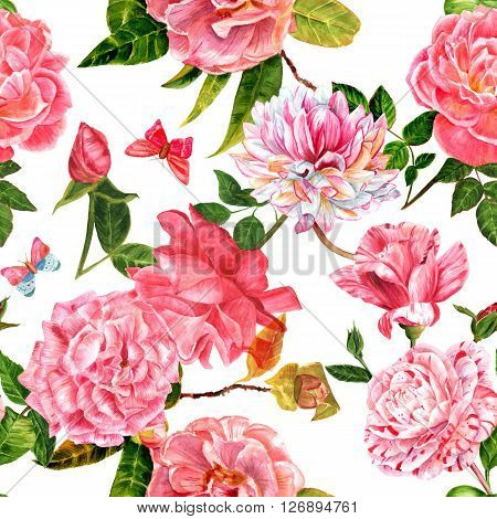 A seamless background pattern with pink watercolor flowers (roses camellias and dahlias) and butterflies with green leaves hand painted in the style of vintage botanical art