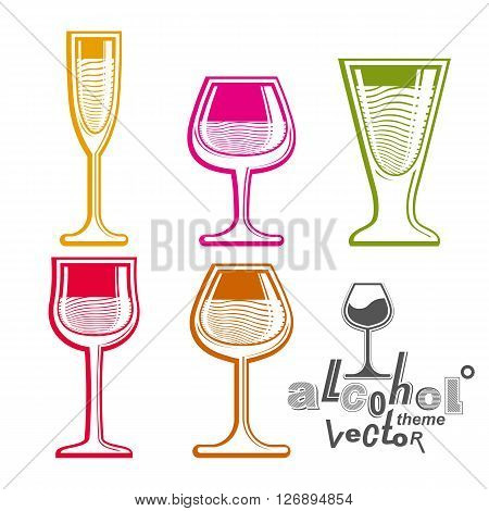Colorful glasses collection, martini wine cognac whiskey and champagne. Entertainment elements best for use in graphic and web design.