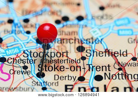 Stoke-on-Trent pinned on a map of UK