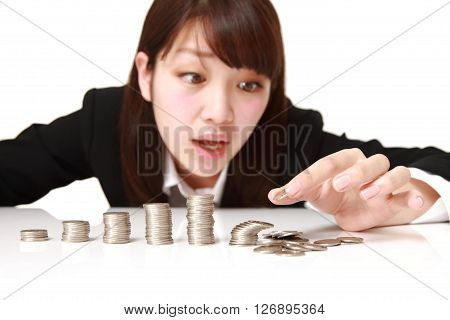 concept shot of economic collapse on white background