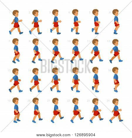 Phases of Step Movements Boy in Walking Sequence for Game Animation. Vector