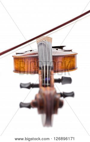 Front View Of A Violin With Bow On Strings