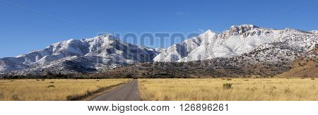 A Panoramic View of the Snowy Huachuca Mountains in Winter in Arizona