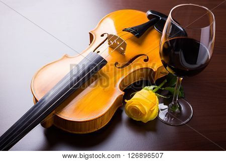 Violin, Flower And Red Wine
