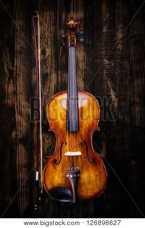 Top View Of Violin And Bow