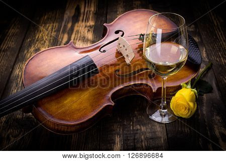 Violin, Wine And Yellow Rose