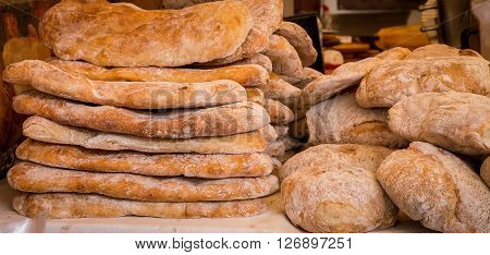 Fresh baked breads at a market in lisbon