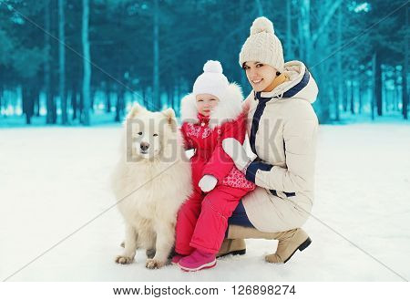 Mother And Child With White Samoyed Dog In Winter Day
