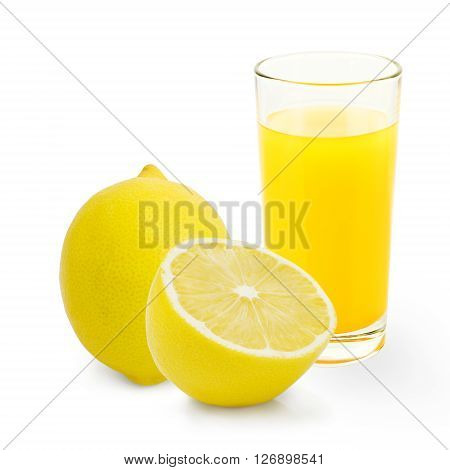 A glass of lemonade with lemon slices isolated on white background.