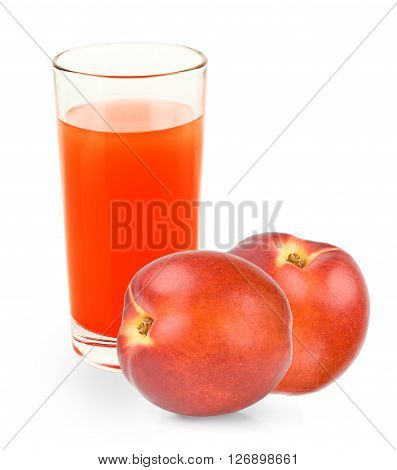 Fresh peaches and peach juice on a white background