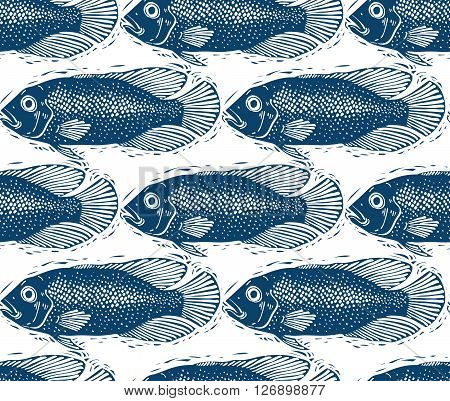 Seamless sea vector pattern different fish silhouettes. Hand drawn fauna backdrop aqua nature continuous background.
