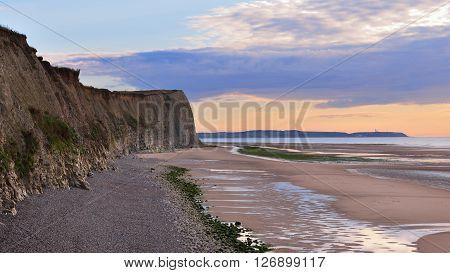 White Chalk Cliff Of Cap Blanc Nez On The Coast Of France At The Strait Of Dover (pas De Calais) Dur