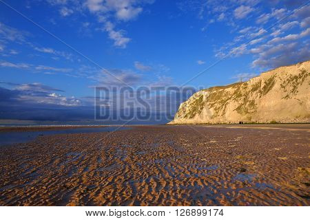 White Chalk Cliff Of Cap Blanc Nez On The Coast Of France At The Straight Of Dover (pas De Calais) D