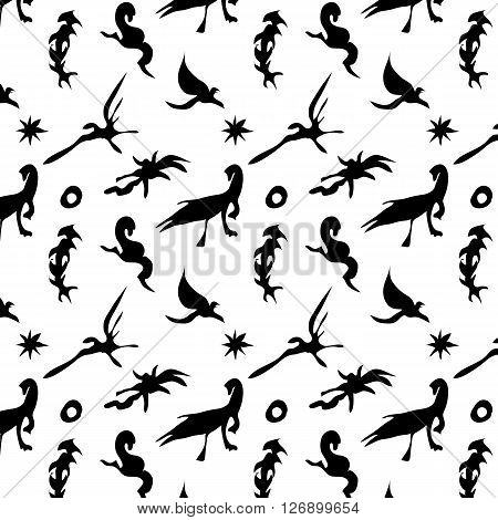 The black and white pattern with figures of dinosaurs and pterodactyles.