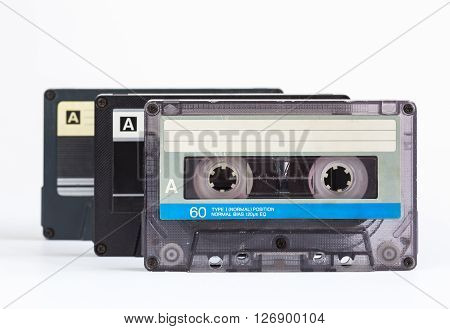 audio cassette close-up on a white background sound recording and music