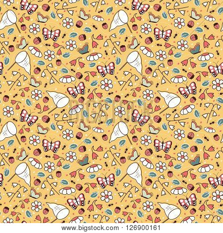 Floral vector seamless pattern with flowers and insects in bright and colorful tones