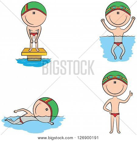 Cute vector swimmer boys in different situations: in the pool swimming in the pool preparation for the start with a raised thumb