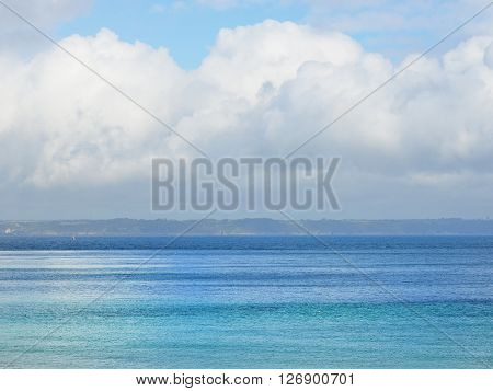 View Of Colorful Ocean Water On A Sunny Day At The Coasts Of Brittany, France