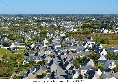 Aerial View Of Cozy White Cottages In Brittany, France