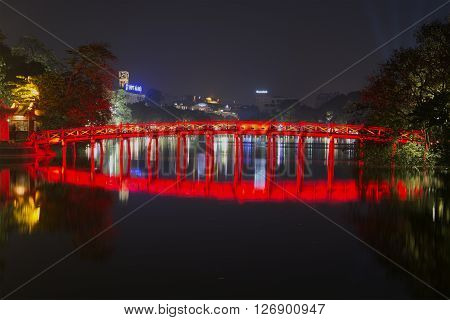 HANOI, VIETNAM - JANUARY 10, 2016: View of the ancient bridge