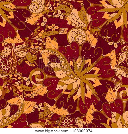 Tracery Seamless Calming Pattern. Mehendi Design. Ethnic Brown Orange Harmonious Doodle Texture. Ind