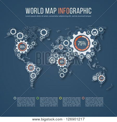 Vector world map business infographics template with gear marks. All continents are selectable.