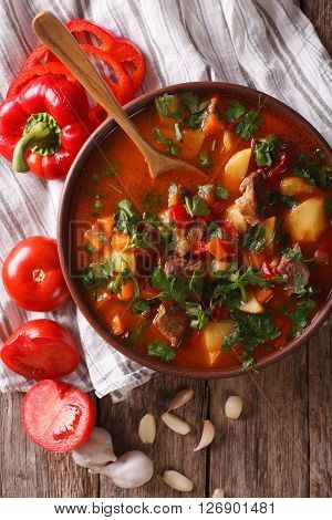 Hungarian Goulash Soup Bograch Close-up. Vertical Top View