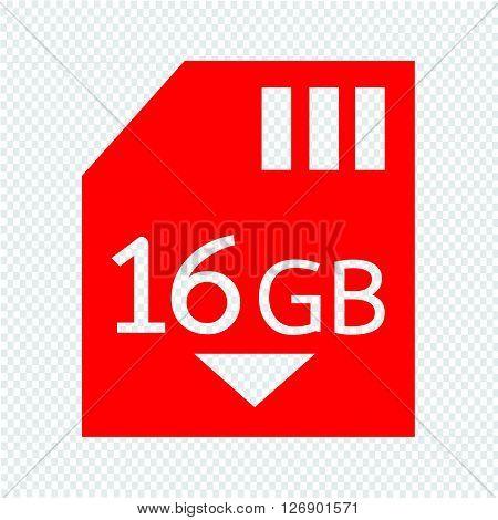 Memory Card 16 Gb icon Illustration design