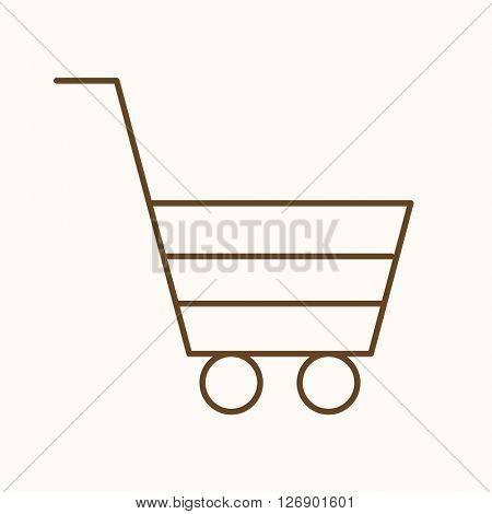 Shopping cart icon, vector web sign in thin lines. Shop icon flat. Design pay icon, vector pictogram.