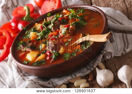 Traditional Hungarian Goulash Soup Bogracs Close-up In A Bowl. Horizontal