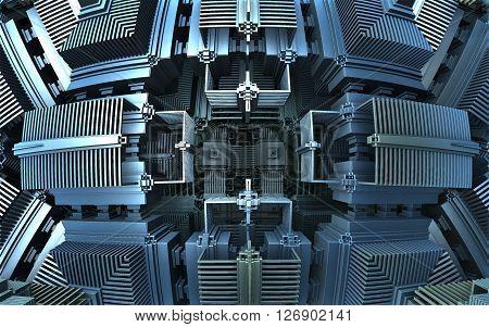 Computer rendered detail of 3D metallic engine