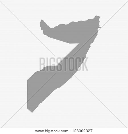 Map of Somalia in gray on a white background