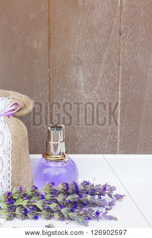 Lavender herbal aroma water, fresh flowers and dry in pouch