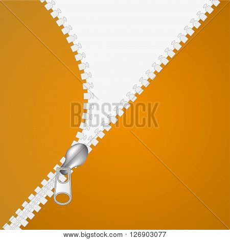 Zip closure over white and orange background. Vector illustration