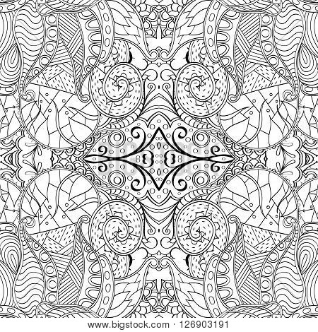 Tracery Monochrome Binary Pattern. Mehendi Carpet Design. Ethnic Colorful Harmonious Doodle Texture.