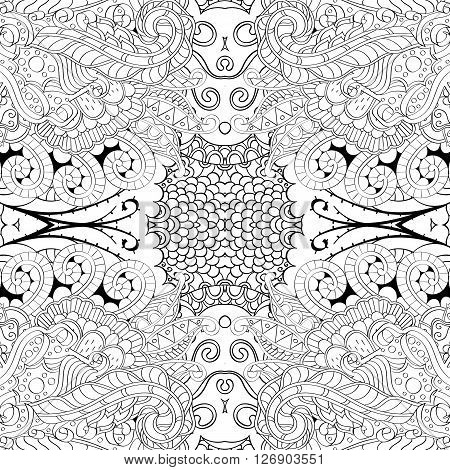 Tracery Monochrome Binary Pattern. Mehendi Carpet Design. Ethnic Colorful Harmonious Doodle Texture.