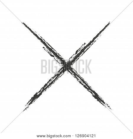 Black icon cross drawn with charcoal. Vector illustration