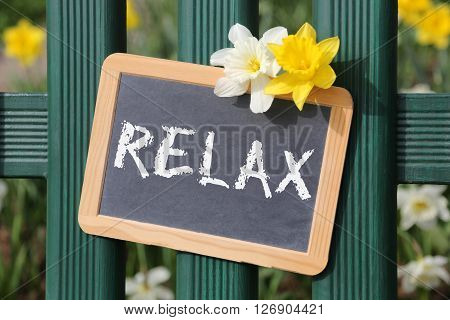 Relax Relaxing Garden With Flowers Flower Spring Sign Board