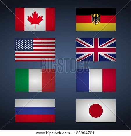 Set of flags of Great Eight. Canada USA Germany Great Britain Italy France Japan Russia