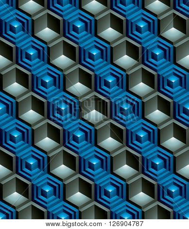 Regular colorful textured endless pattern with three-dimensional cubes continuous vivid geometric background.