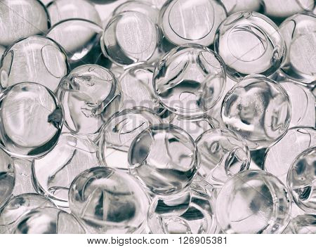 transparent balls close-up texture background vintage, gel, gelatin
