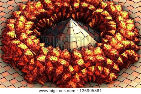 Render of abstract 3D pyramide with reflections