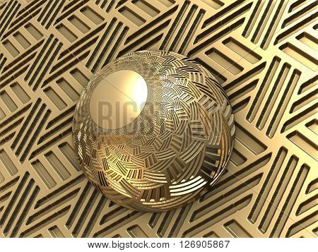 Computer rendered metallic ball on textured stage with reflections