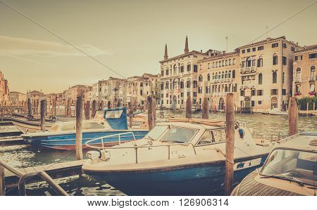 Venetian architecture nad motorboats at Grand Canal Italy