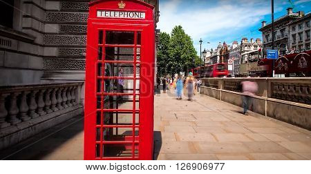 LONDON, UK - APRIL 23, 2016: General view in London with Red telephone box
