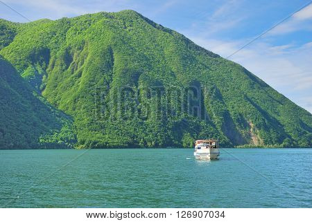 View from Village of Gandria to Lake Lugano in Ticino Canton,Switzerland