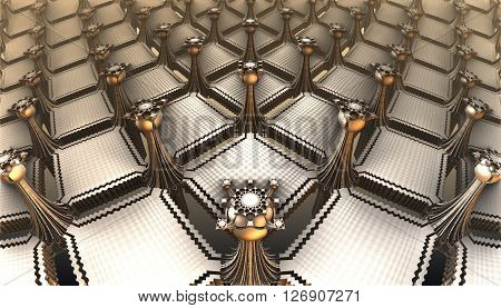 Computer rendered 3D abstract architecture metallic design