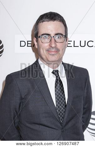 New York NY USA - April 22 2016: Comedian political commentator television host John Oliver attends Tribeca Talks Storytellers: Tom Hanks with John Oliver during the 2016 Tribeca Film Festival at John Zuccotti Theater at BMCC Tribeca Performing Arts Cente