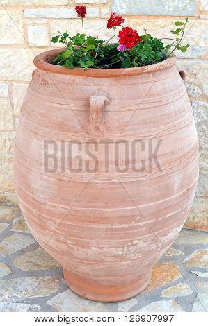 A big amphora transformed into flowerpot.Une jare.